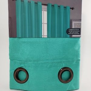 Glory Home Design Accents - Christina Faux Silk Grommet-Top Panel_TurquoiseSS